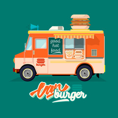 Cartoon fast-food car with a big hamburger on a white background