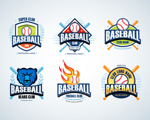 Baseball sport badge logo set. Design template and some elements for logos, badge, banner, emblem, label, insignia, T-shirt screen and printing. Baseball logotype templates.