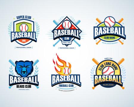 Baseball sport badge logo set. Design template and some elements for logos, badge, banner, emblem, label, insignia, T-shirt screen and printing. Baseball logotype templates.