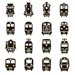 Set of 16 icons of locomotives