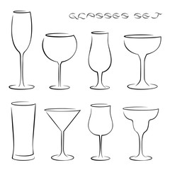 Set of alcohol glasses icons.