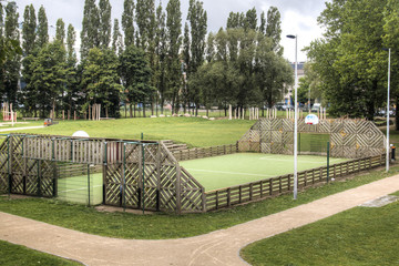 An urban soccer field in Antwerp, Belgium