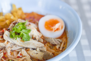 Noodle spicy soup thai style tom yum condensed water with boiled
