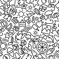 Summer and Beach Seamless Outline Icon Pattern