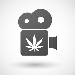 Cinema camera icon with a marijuana leaf