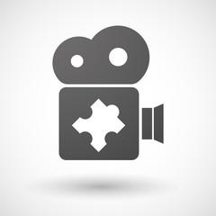 Cinema camera icon with a puzzle piece