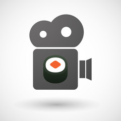 Cinema camera icon with a piece of sushi