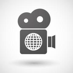 Cinema camera icon with a world globe