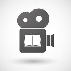 Cinema camera icon with a book