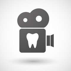 Cinema camera icon with a tooth