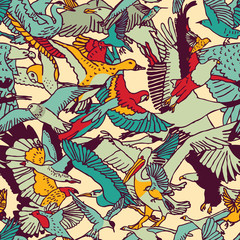 Wild nature birds color seamless pattern