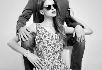 fashion beautiful couple in sunglasses