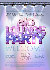 Disco background. Big lounge party poster