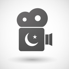 Cinema camera icon with an islam sign