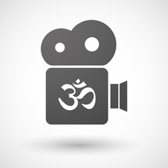 Cinema camera icon with an om sign