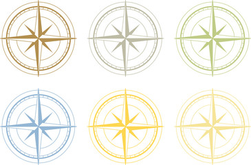 Vector set of colorful wind rose