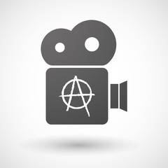 Cinema camera icon with an anarchy sign