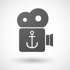 Cinema camera icon with an anchor