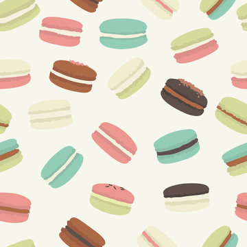 Seamless pattern with colorful macaroon. Vector illustration.