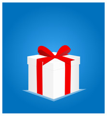 Minimalist Greeting Card with Gift Box Blue Background 1 EPS10