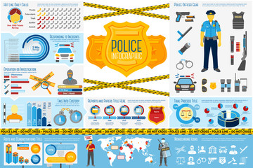 Set of Police work Infographic elements with icons, different