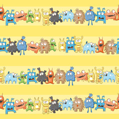 Vector seamless pattern with cute cartoon monsters on a yellow  background.