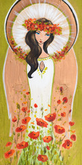 Beautiful angel with flowers hand painted on a wood.