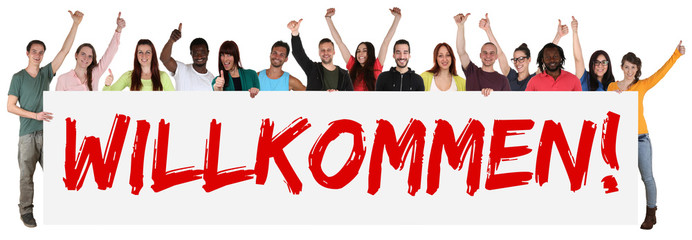 Willkommen multikulturell Gruppe junge Leute People halten Schil