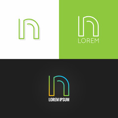 letter N logo alphabet design icon set background