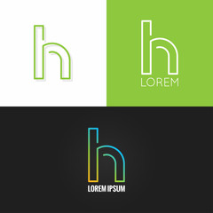 letter H logo alphabet design icon set background