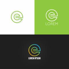 letter E logo alphabet design icon set background