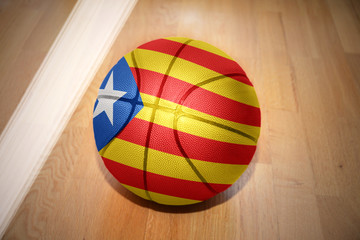 basketball ball with the national flag of catalonia