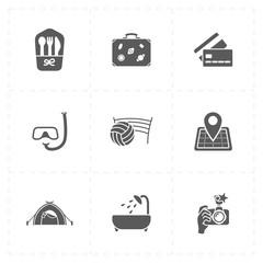 9 flat free travel icons