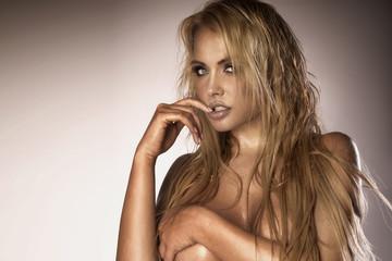 Sexy portrait of blonde beautiful woman .