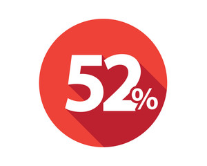 52 percent  discount sale red circle