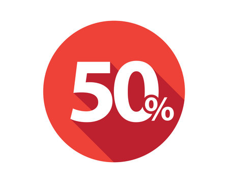 50 percent discount sale red circle