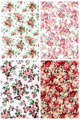 collection red rose vintage on fabric background
