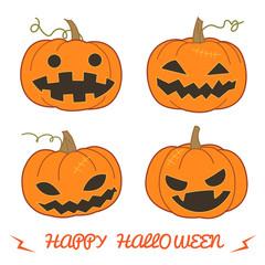 Set of pumpkin for Halloween (Jack 'O Lantern) in various styles