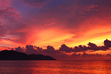 Dramatic seascape at sunset in Penang, Malaysia..