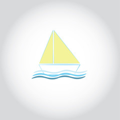 Simple vector of sailing boat can be used as logo on boat company, sign of summer vacation or fishing things.