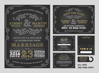 Vintage Chalkboard Wedding Invitations design sets include Invitation card, Save the date card, RSVP card, Thank you card, Table number, Gift tags, Place cards, Save the date door hanger