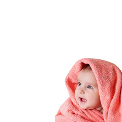 baby wrapped in a pink towel