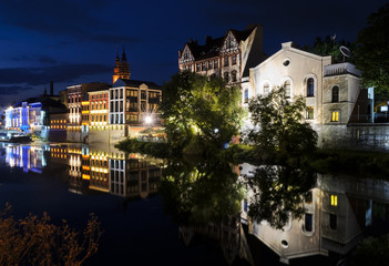 Night view on the Opole city, and Odra river