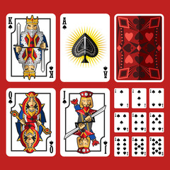 Spade Suit Playing Cards Full Set, include king queen jack and ace of spade