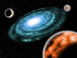 My imagine galaxy and stars illustration background.