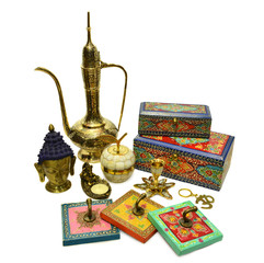 Collection of Indian ornamental culture objects.