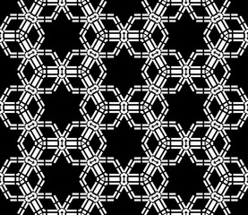 Vector seamless pattern stars ,Modern textile print with illusion, Black and white tiles , Symmetrical repeating background,bed sheets or pillow pattern