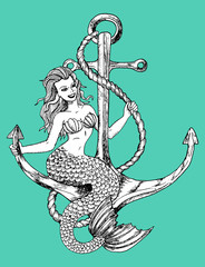 Mermaid sitting on anchor