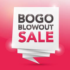 BOGO BLOWOUT SALE, poster design element