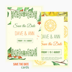 Vector watercolor lemon save the date card with leaves and